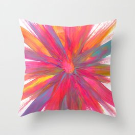 Rainbow Abstract Color Explosion Throw Pillow