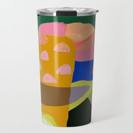 Shapes and Layers no.20 - Abstract painting olive green blue orange black Travel Mug