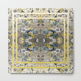 Passion Flower Baroque in Gold Yellow Grey Metal Print