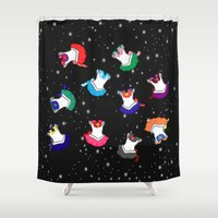 suits Shower Curtains featuring Sailor Suits in Outer Space by Lametart