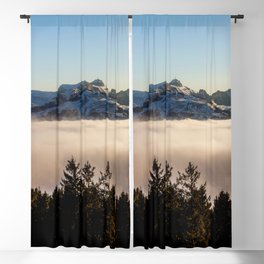 Switzerland Photography - Mountains Taller Than The Clouds In The Blue Sky Blackout Curtain