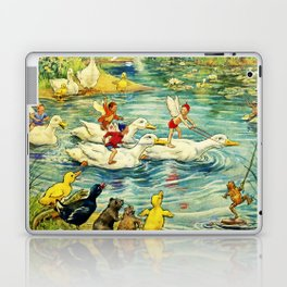 """""""Duck Racing in the Pond"""" by Margaret Tarrant Laptop & iPad Skin"""