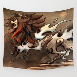 Original character art - Oriental themed wolf Wall Tapestry
