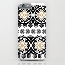 Black white faux gold glitter hand painted floral aztec iPhone Case