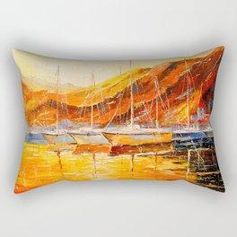 Golden sunset at the mountains Rectangular Pillow