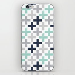 Swiss cross pattern minimal nursery basic grey and white camping cabin chalet decor iPhone Skin