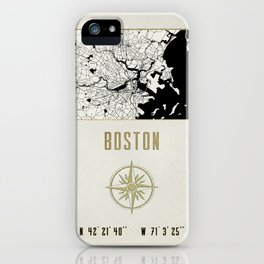 Boston - Vintage Map and Location iPhone Case