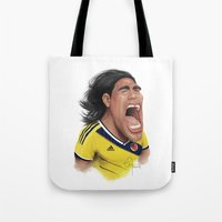 colombia Tote Bags featuring Falcao - Colombia by Sant Toscanni