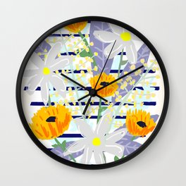 Bright Flowers with Navy Stripe Wall Clock