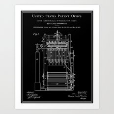 Beer Bottler Patent - Black Art Print