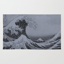 Silver Japanese Great Wave off Kanagawa by Hokusai Rug