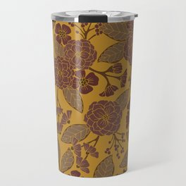 Mustard Yellow, Brown, Raisin, Taupe & Mauve Floral Pattern Travel Mug