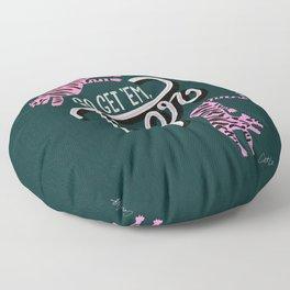 Go Get 'Em Tiger – Teal Floor Pillow