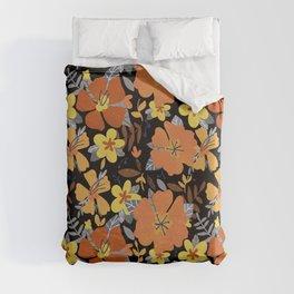 Hibiscus Flowers Black Duvet Cover
