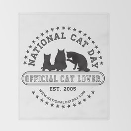 National Cat Day Throw Blanket