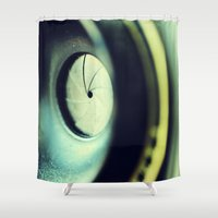 aperture Shower Curtains featuring AV by Art by Kaitlyn Alyse