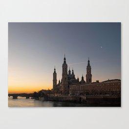 Night view of Zaragoza, Spain Canvas Print