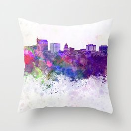 Boise skyline in watercolor background Throw Pillow