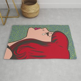 Little Red Head Sad Girl Rug