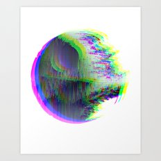 Death Star Glitch Wars Art Print