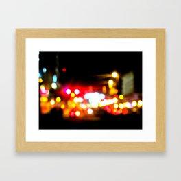 bokeh in manhattan Framed Art Print
