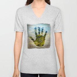 Hand Print Unisex V-Neck