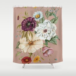 Colorful Wildflower Bouquet on Pink Shower Curtain