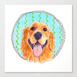 You're Never Fully Dressed without a Smile, Golden Retriever, Whimsical Watercolor Painting, White Canvas Print