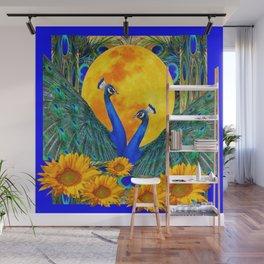 BLUE PEACOCKS MOON & FLOWERS FANTASY ART Wall Mural