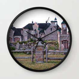 Stone Mansion on the River Wall Clock