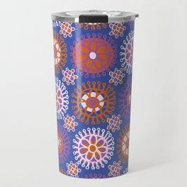 Flower Doodles Cobalt Blue, circles and flowers design Travel Mug