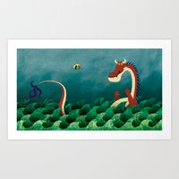 Sea Dragon's Beach Ball Art Print