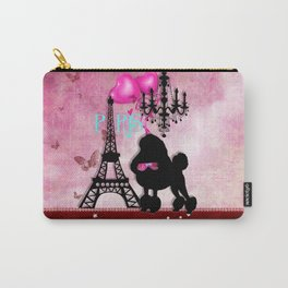 The Star | French Paris Girly Chic Poodle Eiffel Tower Damask Carry-All Pouch