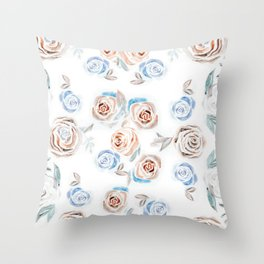 Rose Pattern - Fall Colors on White Throw Pillow