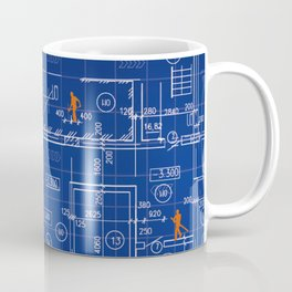 Blue Blueprint with Construction Workers & Tennis Racquet Coffee Mug