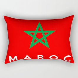 morocco Maroc country flag french name text Rectangular Pillow