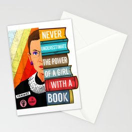 Never Underestimate Power of A Girl With Book RBG Ruth Girls T-Shirt Stationery Cards