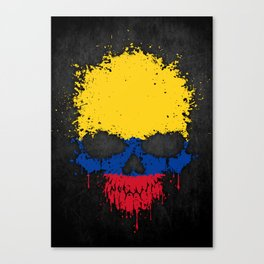 Flag of Colombia on a Chaotic Splatter Skull Canvas Print