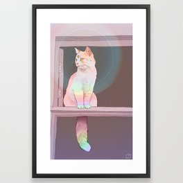 Psychedelic Cat Framed Art Print