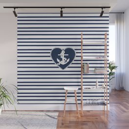 Modern navy blue white heart anchor nautical stripes Wall Mural