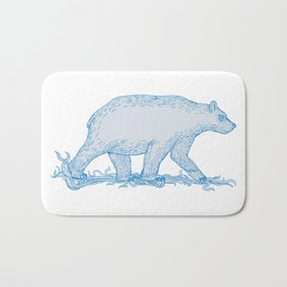 Polar Bear Walking Side Drawing Bath Mat
