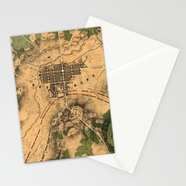 Vintage Map of The Gettysburg Battlefield (1863) 3 Stationery Cards
