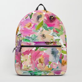 Elegant blush pink lavender green watercolor floral Backpack