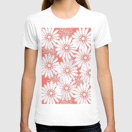 Summer Flowers Living Coral T-shirt