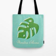 Monstera Aqua Tote Bag