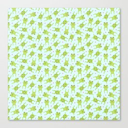 Kawaii Happy Frogs on Blue Canvas Print
