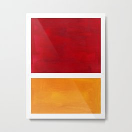 Burnt Red Yellow Ochre Mid Century Modern Abstract Minimalist Rothko Color Field Squares Metal Print