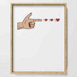 Human Handgun Heart Bullets Valentines Day Serving Tray