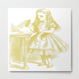 Alice with Drink Me Bottle in Gold Metal Print