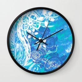 Samoan Tribal Turtle Ocean Spray Wall Clock